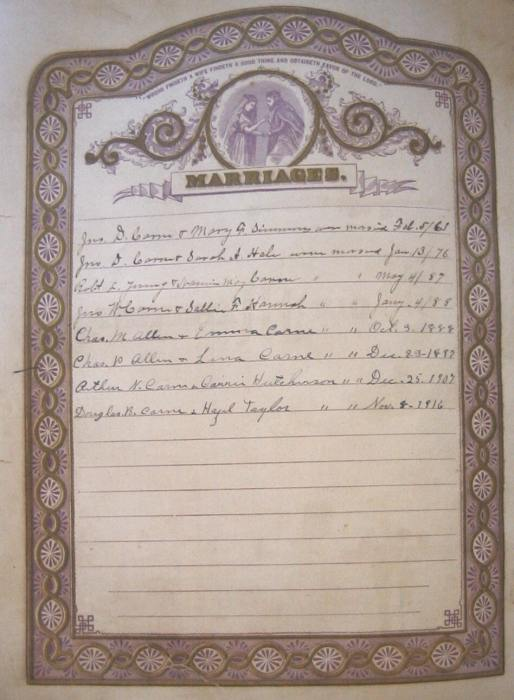 John D. Carne Family Bible - Marriages